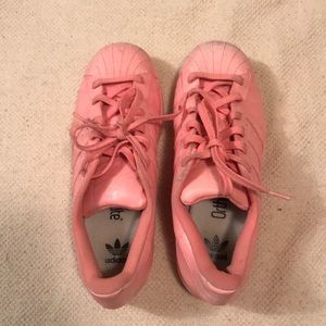Spray painted Pink Adidas Tennis Shoes